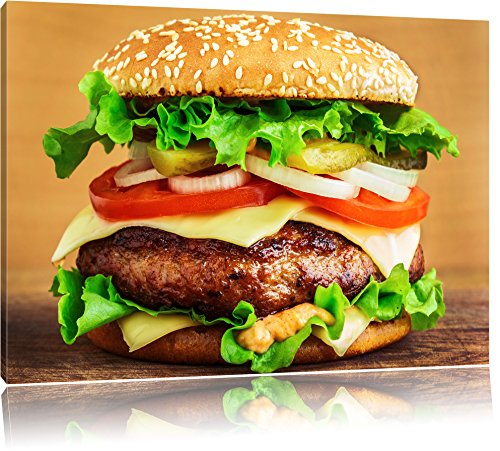 Pixxprint HamBurgers McDonalds CheeseBurger Burger Eating Meat On Canvas, XXL Huge Pictures Completely Framed With Stretcher, Art Print On Mural With Frame