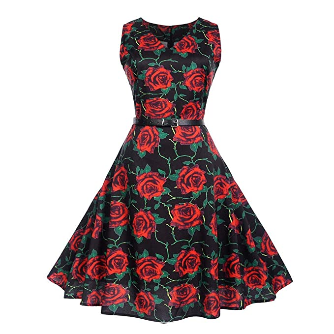 Vibola Women Dress Clearance Vintage Classy Floral Print Evening Party Prom Swing Dress with Belt (