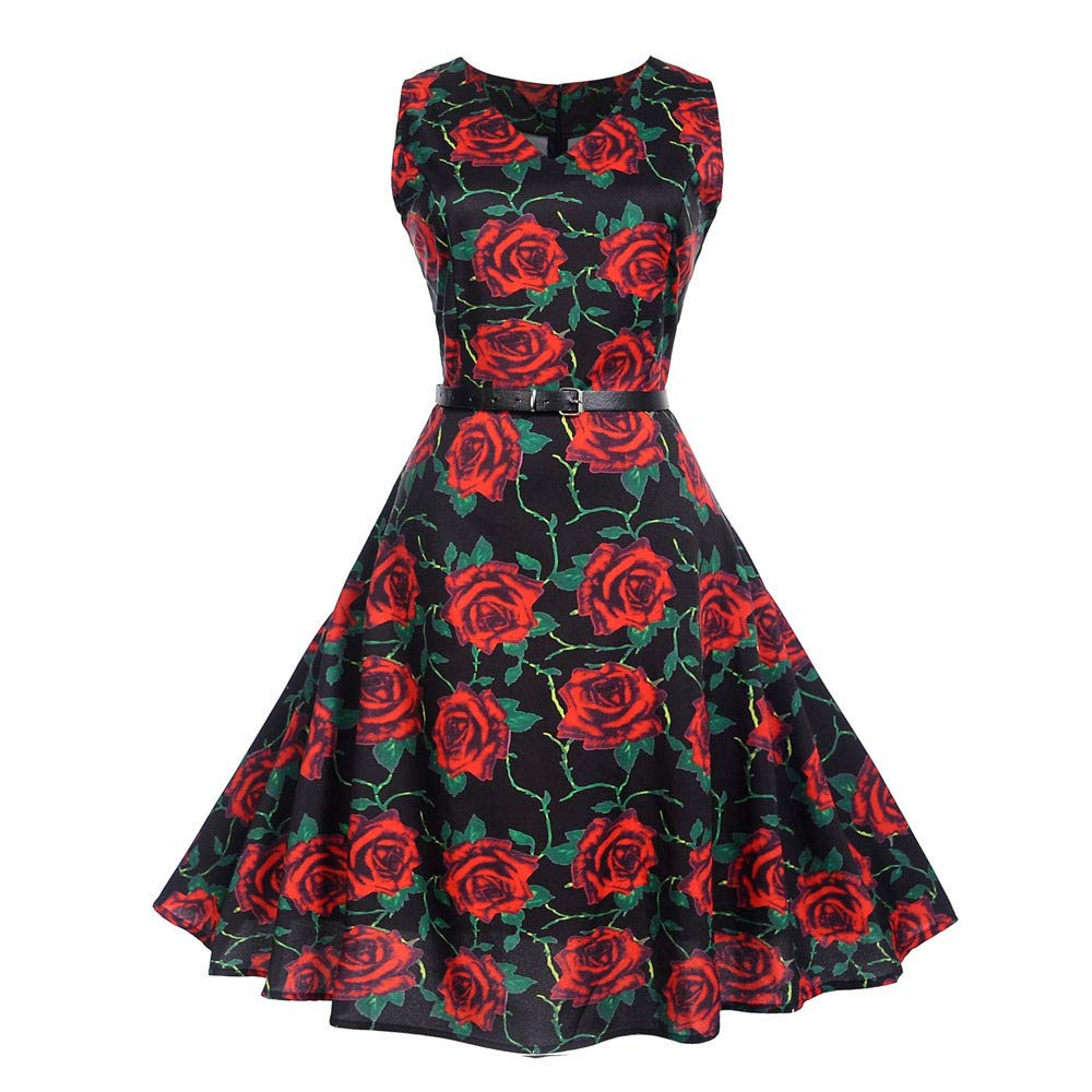 Vibola Women Dress Clearance Vintage Classy Floral Print Evening Party Prom Swing Dress with Belt (S, Black)