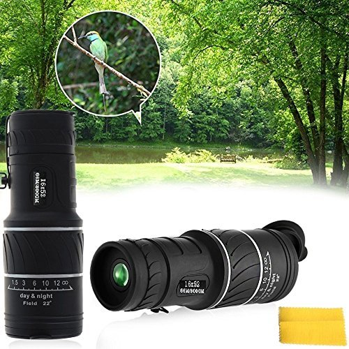 LB Christmas Gift 16X52 Dual Focus Monocular Telescope, Night Vision Waterproof Optical Zoom Single Tube Scope For Bird - To Get Sunglasses Where It