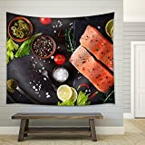 wall26 – Raw Salmon Fillet and Ingredients for Cooking on a Dark Background in a Rustic Style. Top View – Fabric Wall Tapestry Home Decor – 51×60 inches Review