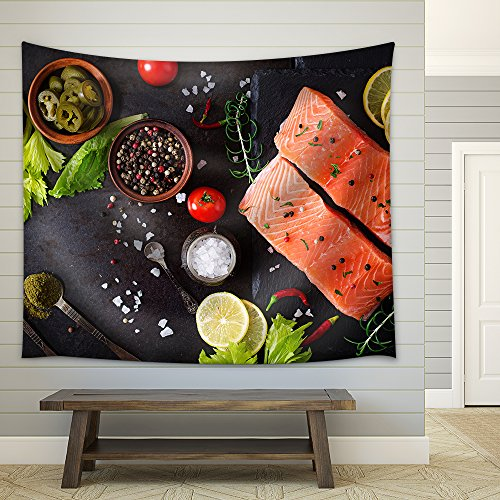 Raw Salmon Fillet and Ingredients for Cooking on a Dark Background in a Rustic Style Top View Fabric Wall Tapestry