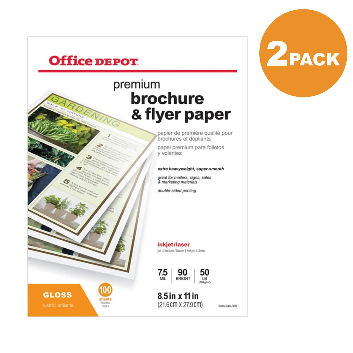 Office Depot Professional Brochure and Flyer Paper, Glossy, 8 1/2in. x 11in, 50 Lb, 2-Pack of 100 Sheets Each
