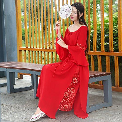 De Hojas Oscilación De Pieza Falda Vestido Gran Cordón GAOLIM La Rojo De Una con De S Mangas Sola Loto Larga 5xnzFIwqOp