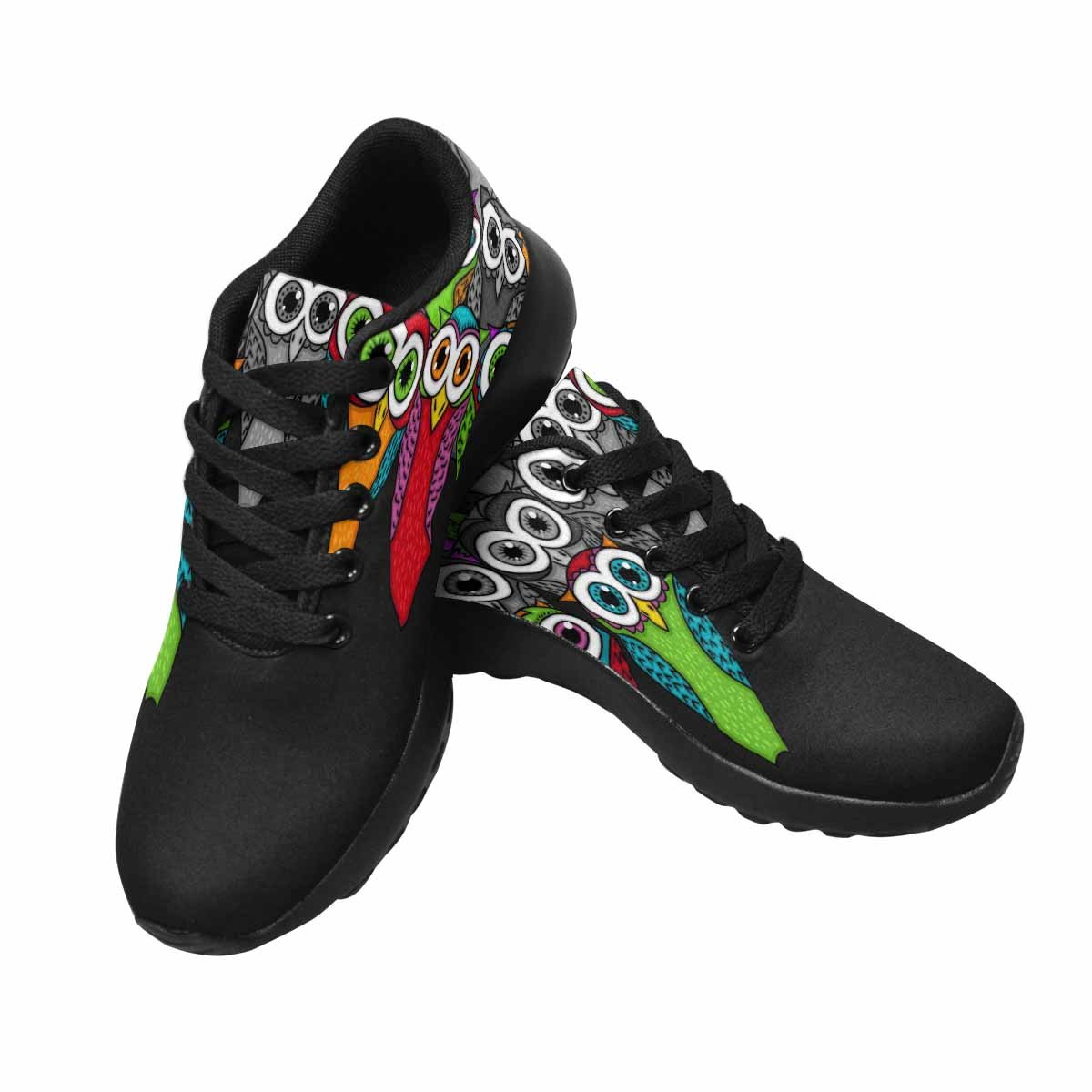 InterestPrint Women's Trail Running Shoes Athletic Sneakers Owl Pattern, Cartoon Style US 12