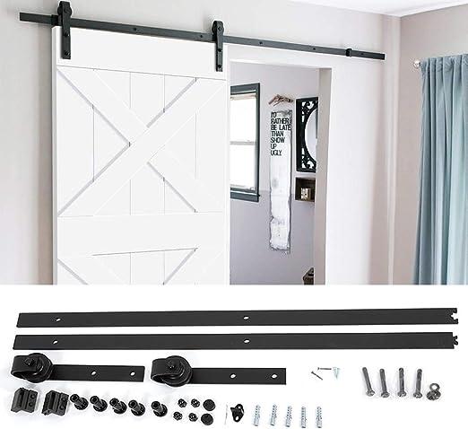 Zoternen - Kit de puerta corredera de 200 cm, riel, conjunto industrial para puerta colgante de madera, para casa ...