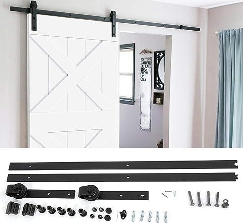 Zoternen - Kit de puerta corredera de 200 cm, riel, conjunto industrial para puerta colgante de madera, para casa, dormitorio, cocina, cuarto de baño, negra: Amazon.es: Hogar