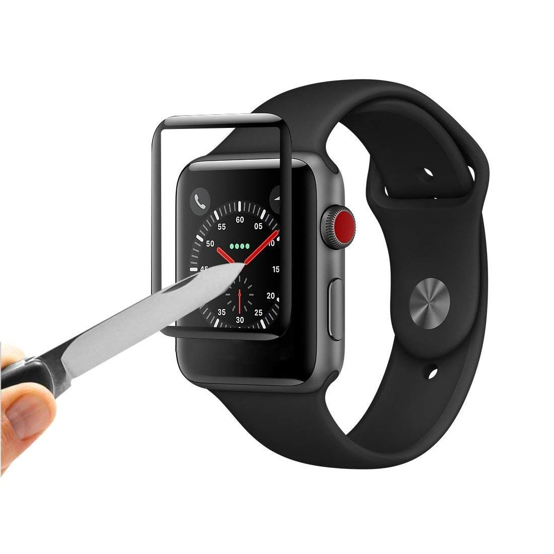 Apple iWatch Screen Protector 42mm, for iWatch 42mm Tempered Glass Screen Protector, 3D Full Coverage, HD Anti-Bubble, Anti-Scratch for Apple iWatch Series 3/2/1 (Black) (42mm) by Zyee (Image #5)