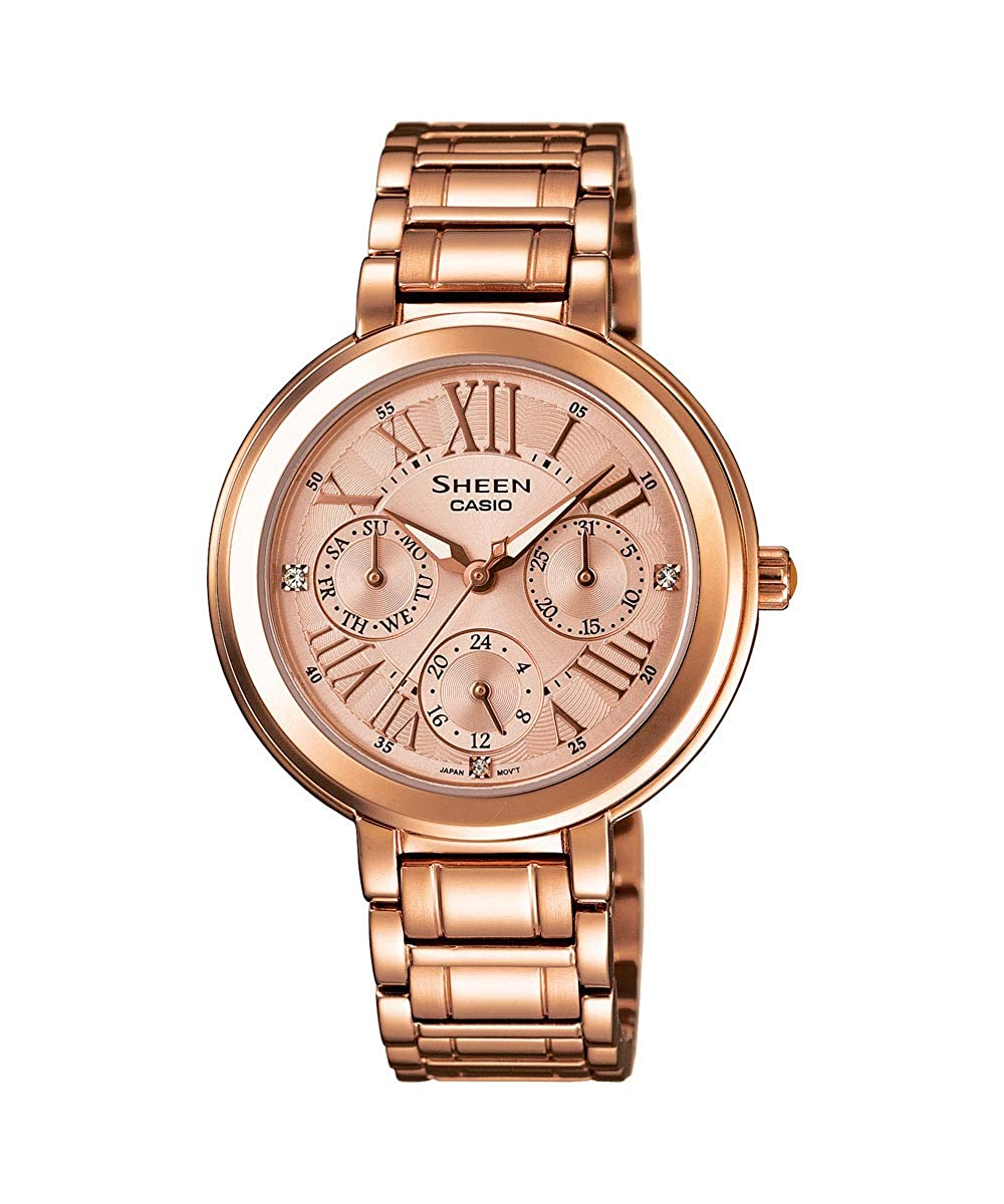reputable site 26a33 d5da5 Casio Sheen Pink Gold Dial Stainless Steel Ladies Watch SHE-3034PG-9AUDR