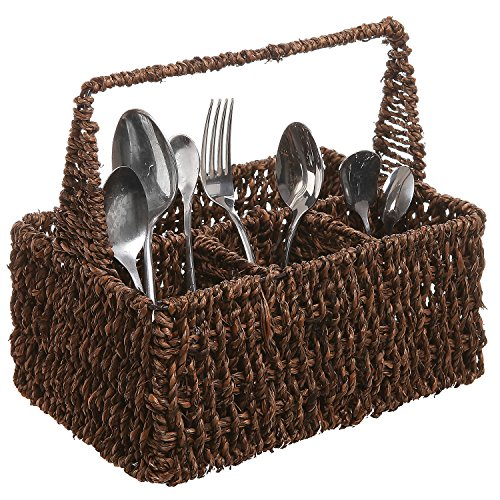MyGift Brown Hand Woven Seagrass 4 Compartment Home Storage Basket/Rustic Organizer Bin w/Handle ()