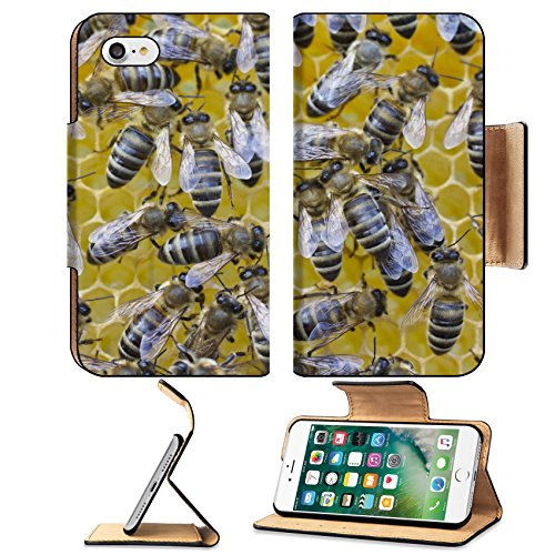 MSD Premium Apple iPhone 7 iPhone7 Flip Pu Leather Wallet Case In cells placed nectar bees honey and pollen - Card Replacement Nectar