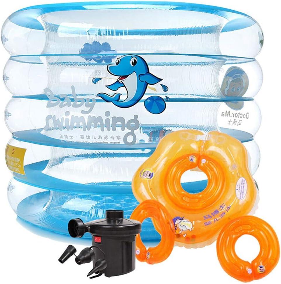 ZTSW Piscina para bebés Piscina Infantil Inflable Juego para niños Juguete acuático Bañera de hidromasaje (Piscina Redonda Transparente + Juego de Anillos de natación Desmontables)