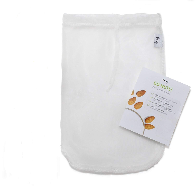 Amazy Bolsa de Leche Vegetal – Bolsa Filtro ideal para leche de nuez, zumos y batidos de frutas y verduras (20x30 cm | 10