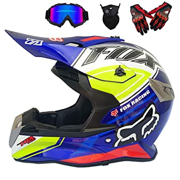 GWJ Adulto Motocross Casco, Gafas, Guantes, Máscara, Dot Moto Casco L (