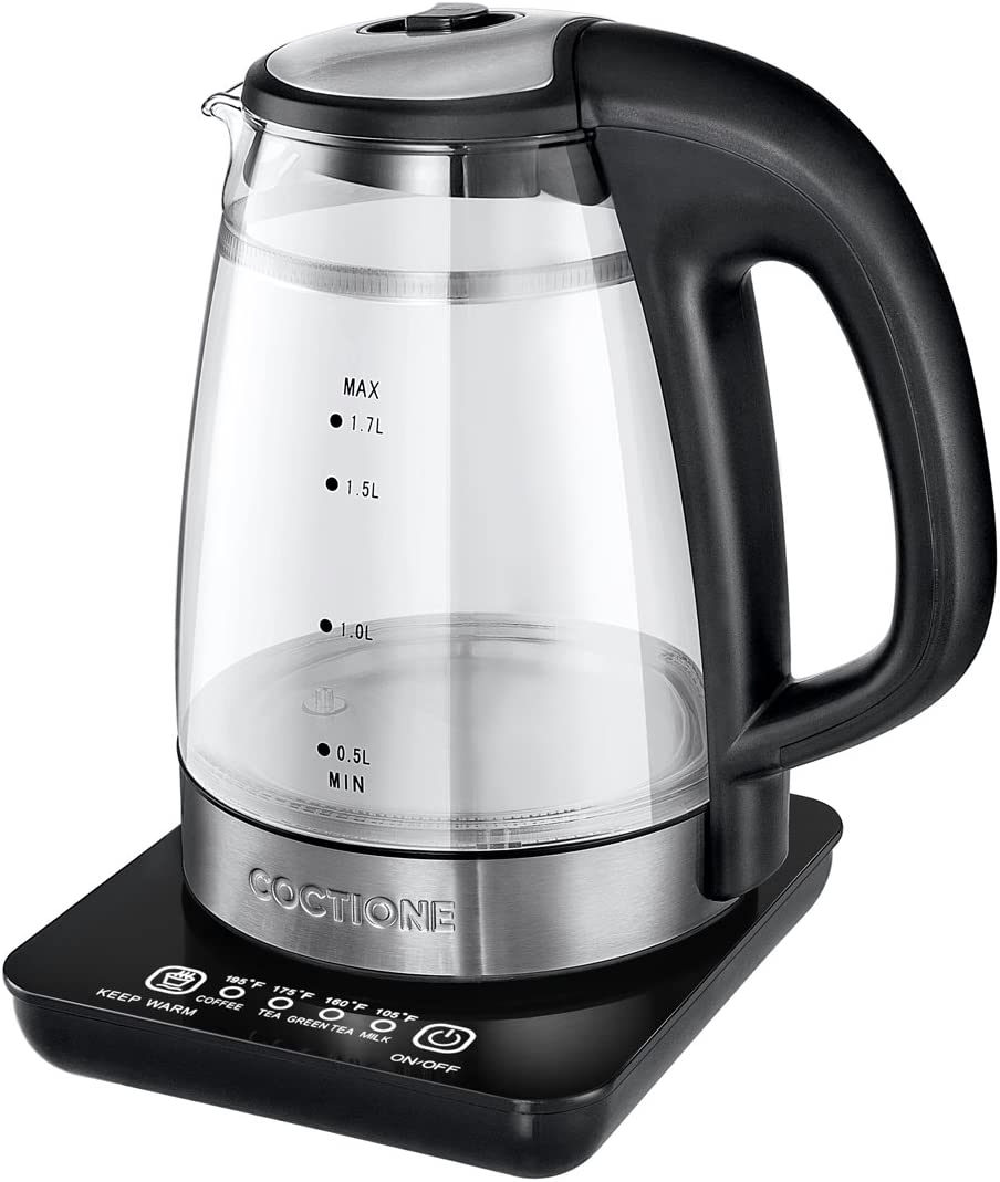 Electric Kettle COCTIONE Glass Digital Kettles Double Wall Cool Touch Cordless Raw Tea Kettle Built In Precision Temperature Control Panel Base Keep Warm Function, 1.7 Liters, 1500 Watts 1.7L