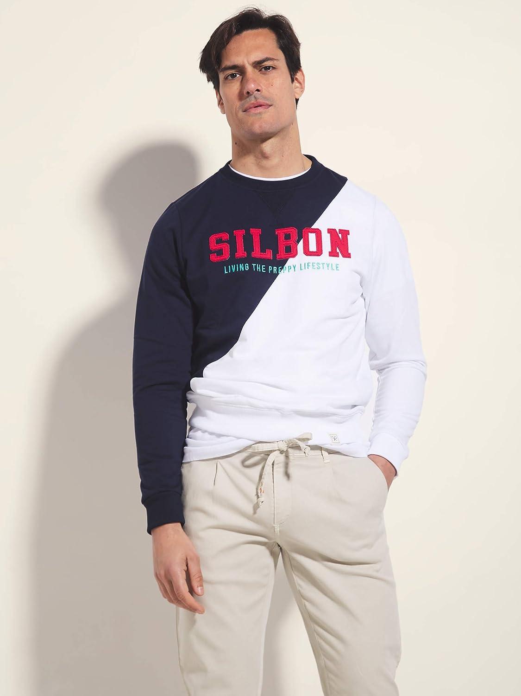 SILBON Sudadera Marino Blanca Hombre