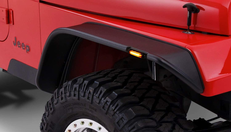 iJDMTOY Amber Lens 6-LED Fender Flare Side Marker Lamps For Jeep Wrangler Compatible with Bushwacker Flat Style Fender Flares