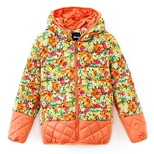 Hiheart Little Girls Hooded Down Winter Coat Floral Puffer Jacket Orange 7/8