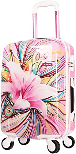 20in 24in Women Carry On Luggage Hardside Rolling Suitcase Multicolor Floral Graffiti Carryon Travel Case Trolley Suitcase Pink PC With Universal Wheels with Zipper for Girls 4wheel Spinner 24 inch