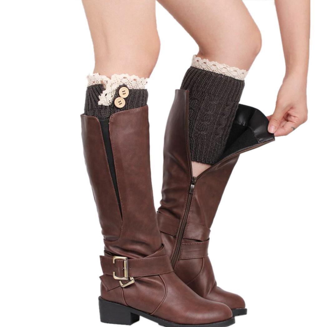calcetines botas calcetines navidad, Sannysis 2pcs Mujer de encaje de Calcetines, calcetines termicos mujer Calentadores de piernas Calcetines Puños elásticos para mujer (Beige)