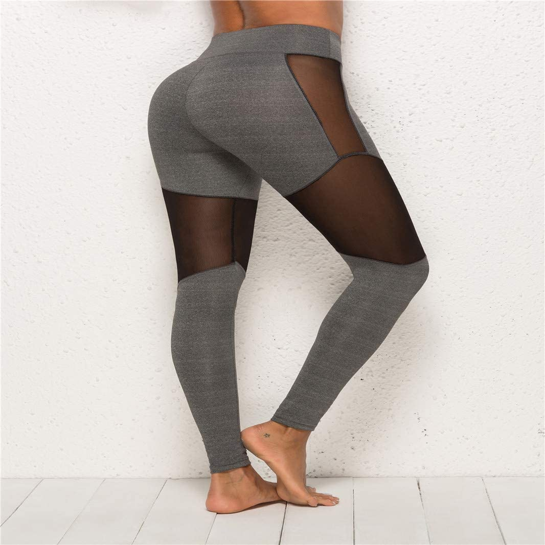 Sperrins Women/'s Stitching Contrast Color Yoga Pants Full-Length Workout Leggings gray