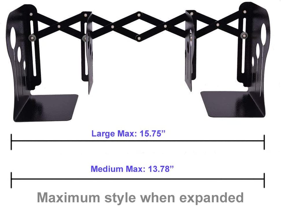 Large, Black Sturdy and Nonslip 3 Compartments Flexible Design Metal Iron Bookends Book Stands Book Racks Book Holders for Desktop Book Shelf WeiMo Adjustable Bookends