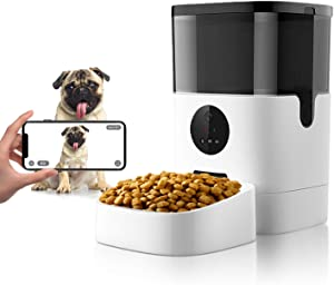 Apexto Wi-Fi Automatic Pet Feeder with Camera 1080p HD Video for Dog Cat Smart Pet Camera Feeder 2 Way Audio Pet Monitor for Dry Food, 4L