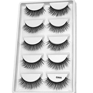 62250db0ffe Image Unavailable. Image not available for. Color: WENSY imitation water  mane 5 pairs of 3D artificial natural fiber waterproof thick eyelash eye  beauty