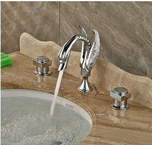 Gowe Deck Mounted Chrome Finish Tub Faucet Bathroom Vessel Sink Tap Hot&Cold Faucet 2