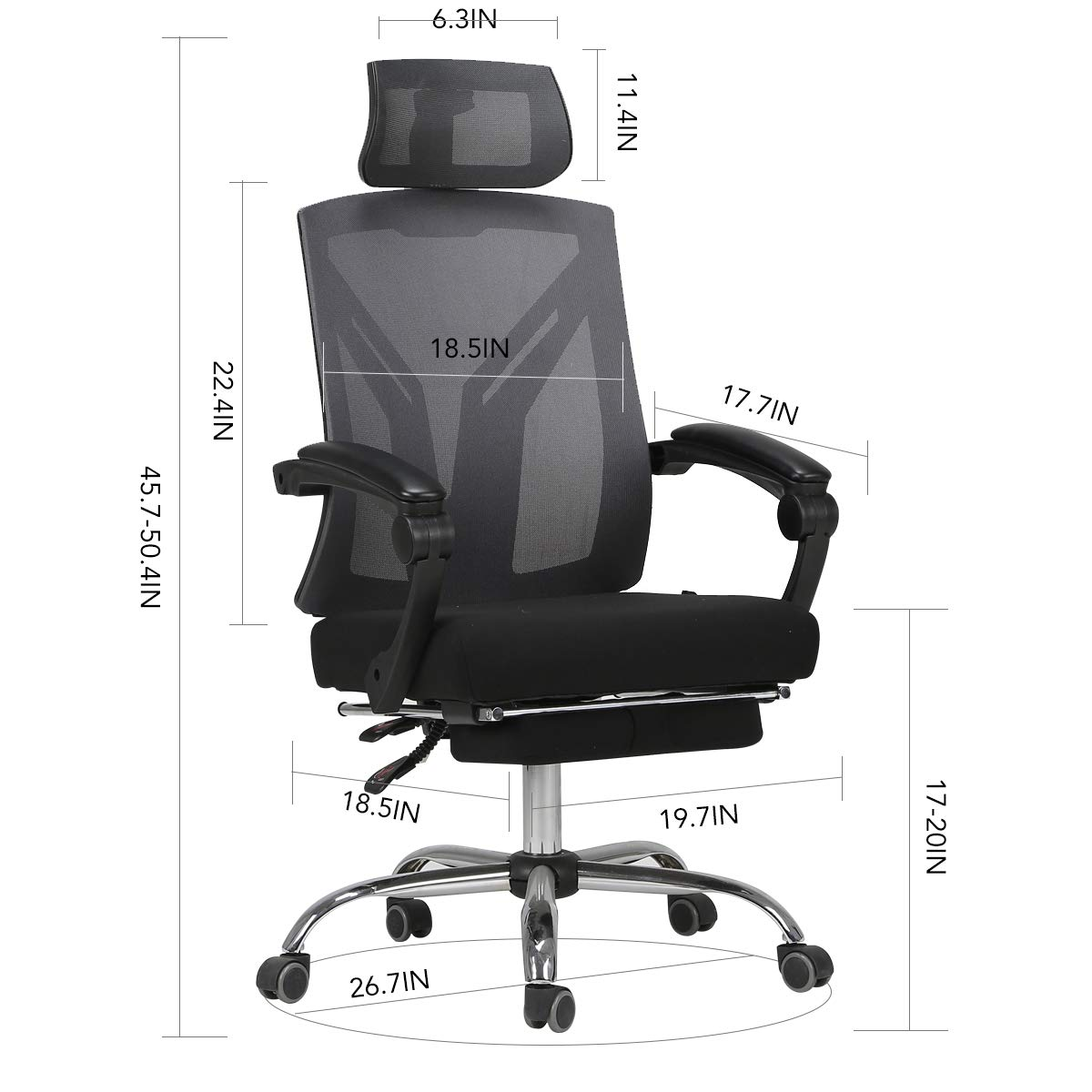 Hbada Ergonomic Office Recliner Chair - High-Back Desk Chair Racing Style with Lumbar Support - Height Adjustable Seat, Headrest- Breathable Mesh Back - Soft Foam Seat Cushion with Footrest, Black by Hbada (Image #7)