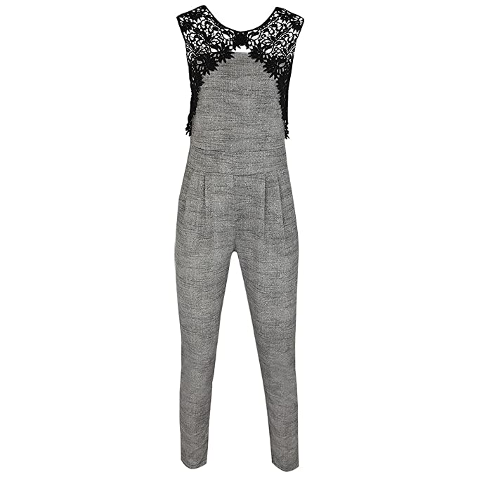 9d0b36fb045 Womens Ladies Sleeveless Lace Long Jumpsuit Playsuit Trousers Suit Evening  Size  Amazon.co.uk  Clothing