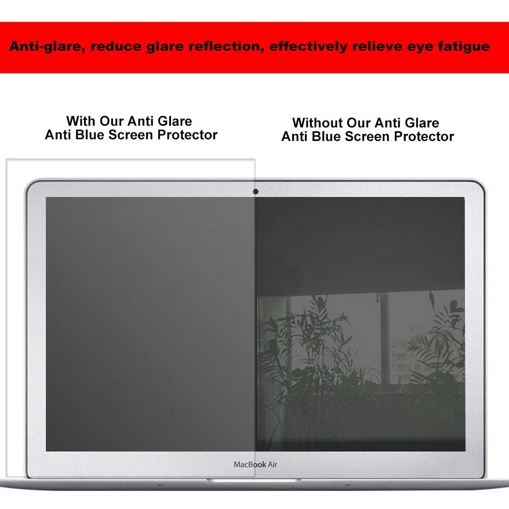 2 Pack Eyes Protection Filter Fit 2016-2019 New MacBook Pro 13 A1706 A1708 A1989 |MacBook Air 13 2018 A1932 Anti Blue Light & Glare Screen Protector Reduces Eye Strain Help You Sleep Better by MUBUY (Image #4)