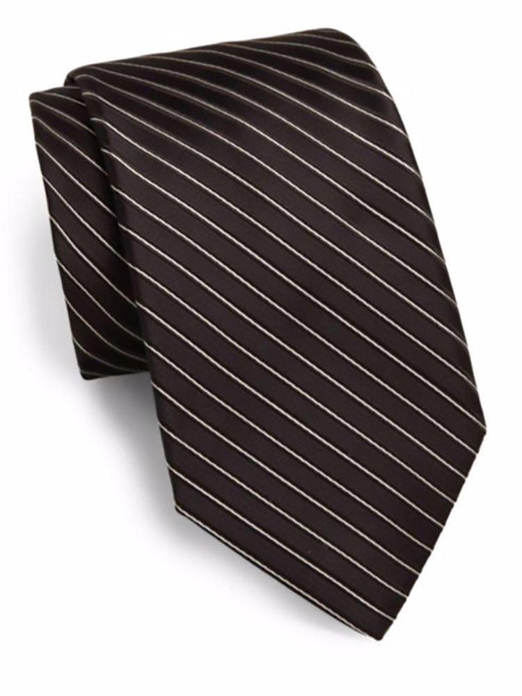 Valentino Men's Striped Silk Tie, OS, Black