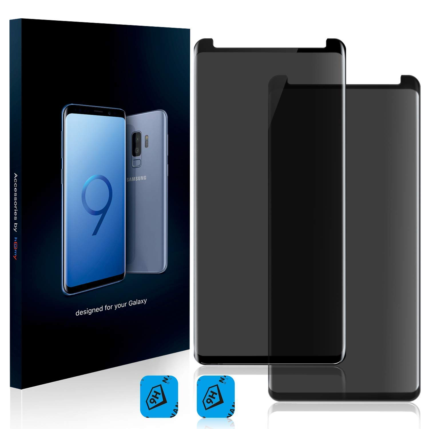 Homy Compatible Privacy UHD Screen Protector for Samsung Galaxy S9 Plus [2-Pack] - Free Camera Lens Cover. Anti Spy Filter Made of 9H Curved 3D High Clarity Full Cover Japanese Tempered Glass.