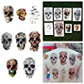 Tattify Various Skull Temporary Tattoos - Putting Our Heads Together (Set of 16 Tattoos - 2 of each Style) - Individual Styles Available and Fashionable Temporary Tattoos