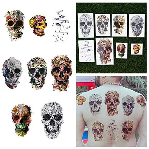 - Tattify Various Skull Temporary Tattoos - Putting Our Heads Together (Set of 16 Tattoos - 2 of each Style) - Individual Styles Available - Fashionable Temporary Tattoos
