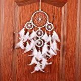 1 Pcs White Wind Chimes Dream Catcher Indian Pearl Feather Pendant Mini Arts Craft Rainbow Owl Feathers Hanging Nursery Bedding Room Famed Popular Dreamcatcher Girls Bedroom Car Wall Catchers Kit