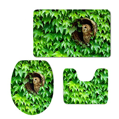 3 Pcs Thick Soft Non-slip Bath Rug Set Owl Green Leaf Print Bathroom Mat Contour Rug Lid (Thick Contour Padding)