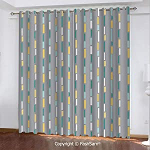 "FashSam Thermal Insulated Blackout Curtains Abstract Lines Retro Design Elements Nostalgic Illustration Geometry Inspirations Window Curtains for Living Room(84""X84"")"