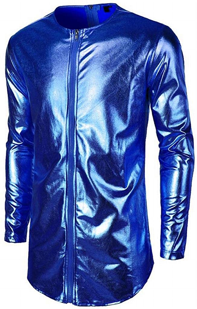 Mstyle Mens Long Sleeve Zip Front Bright Surface Winter Trendy Club Top T-Shirt Blouse