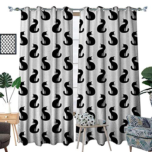 RenteriaDecor Cat Blackout Window Curtain Silhouette of a