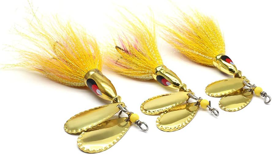 musky muskie pike double inline spinner fishing lures bait black//red 5015