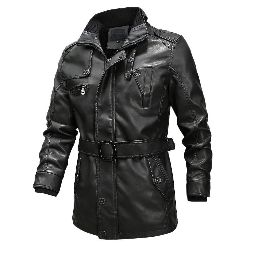Men Vintage Leather Jacket Soft Sherpa Lined Trucker Moto Jacket Collar Motorcycle Leather Coat Outwear Windbreaker (M, Black) by Dasuy