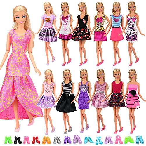 [해외]Barwa Lot 22 = 12 피스 패션 드레스 복장 여름 드레스 및 10 켤레 바비 인형 / BARWA 12 Pcs Mini Dresses Handmade Doll Clothes Accessories for 11.5 Inch Girl Doll Tug of War Wedding Party Dresses (12 Dresses + 10 Shoes)