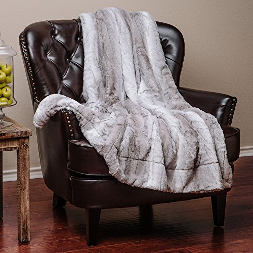 "Price comparison product image Chanasya Super Soft Fuzzy Fur Elegant Faux Fur Falling Leaf Pattern With Fluffy Plush Sherpa Cozy Warm Gray Microfiber Throw Blanket (60"" x 70"")- Gray and White"