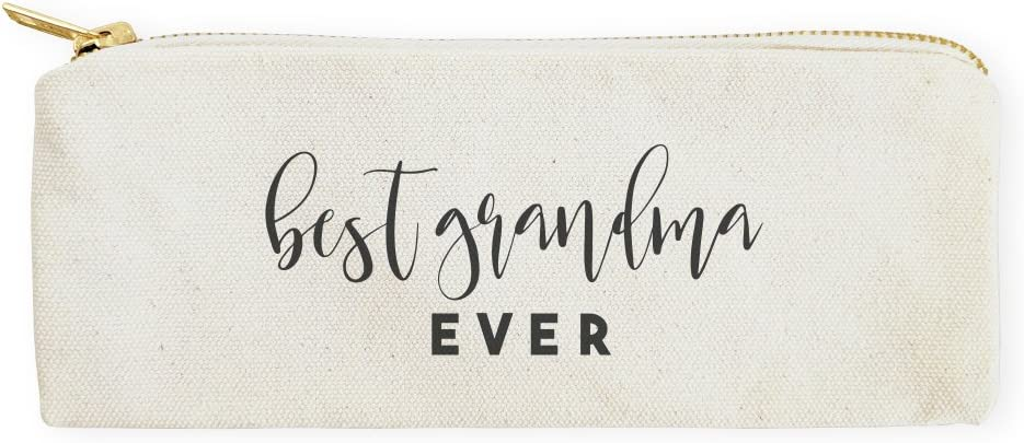 The Cotton & Canvas Co. Best Grandma Ever Pencil Case, Cosmetic Case and Travel Pouch for Office and Back to School