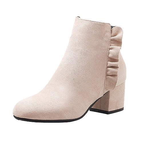 ... 2019 PAOLIAN Botas Bajo Tobillo Altas Casual Elegante Zapatos de Puntiagudo Vestir Fiesta Terciopelo Tallas Grandes: Amazon.es: Zapatos y complementos