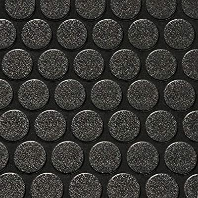 "8' 2"" Wide Coin Plate Pattern RV Flooring Black- 30 Foot Section"