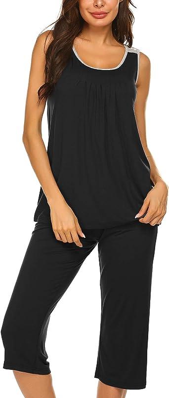 Aoymay Womens Pajama Sets Short Tops with Capri Pants Cotton Sleepwear Ladies Sleep Sets