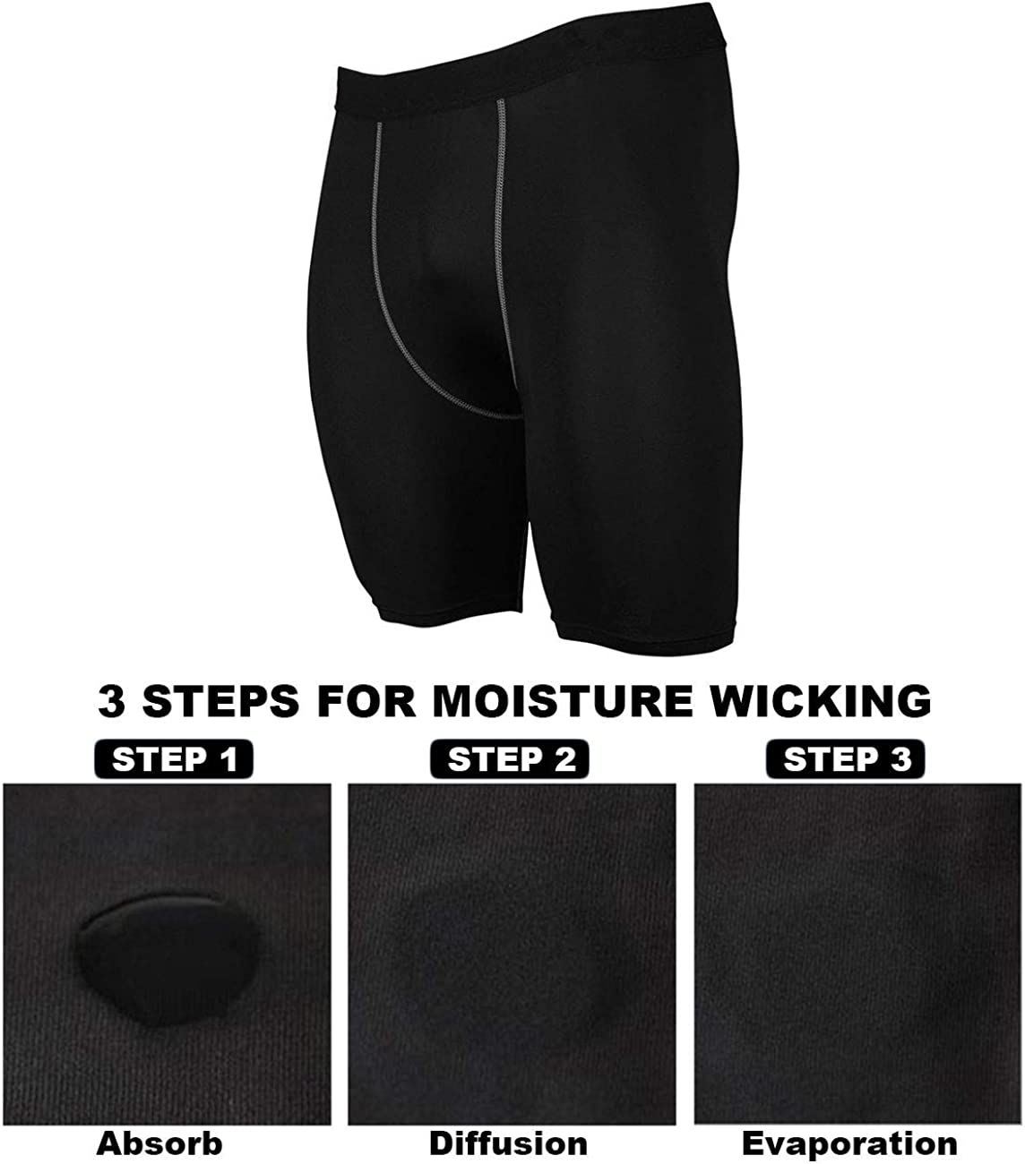 Minghe Mens Compression Shorts Quick Dry Workout Underwear Performance Running Thights 2//3 Pack